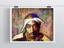 Tupac Poster, Tupac Close Up Portrait Gift, Tupac Memorial Colorful Layered Tribute Fine Pop Art