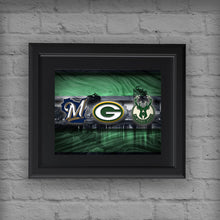 Wisconsin Sports Poster, Green Bay Packers, Milwaukee Brewers, Milwaukee Bucks Artwork, Wisconsin Teams in front of Milwaukee Skyline, Green Bay Man Cave Gift NFL