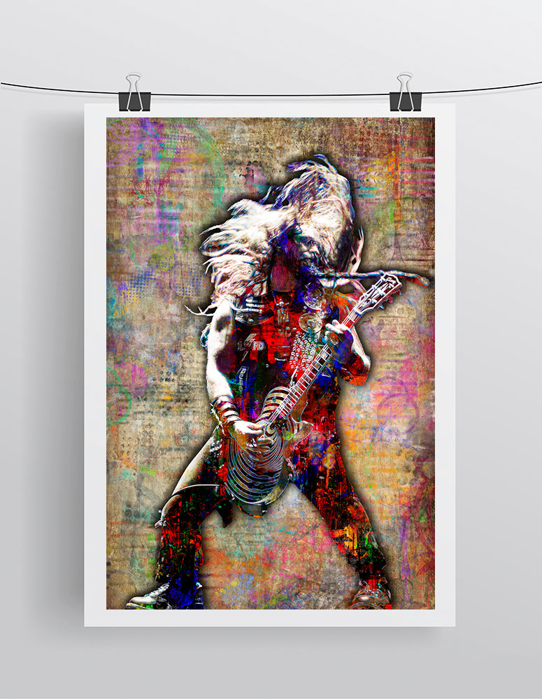 Zakk Wylde Poster, Zakk Wylde of Black Label Society Portrait Gift, Zakk Wylde Tribute Fine Pop Art