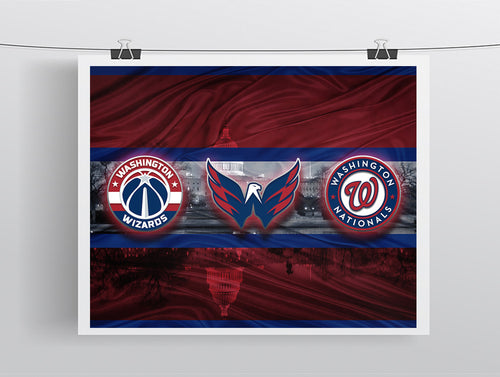 Washington Sports Teams Poster, Washington Nationals, Washington Capitals, Washington Redskins, Washington Wizards