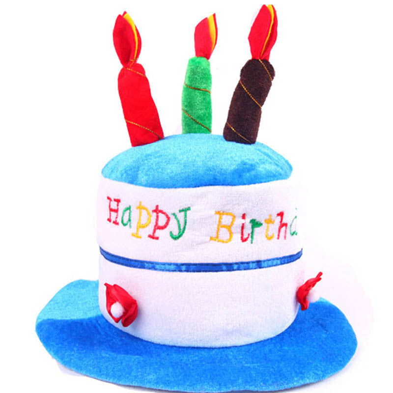 2017 New Happy Birthday Hat Soft Plush Cake Candles Hat Caps For Children Boys Girls Birthday Party Dress Decoration