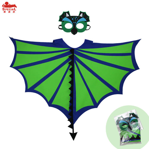 90*70cm Children Dinosaur wing cape mask party decoration  green cape cosplay costume fancy masque dress up birthday brand gift