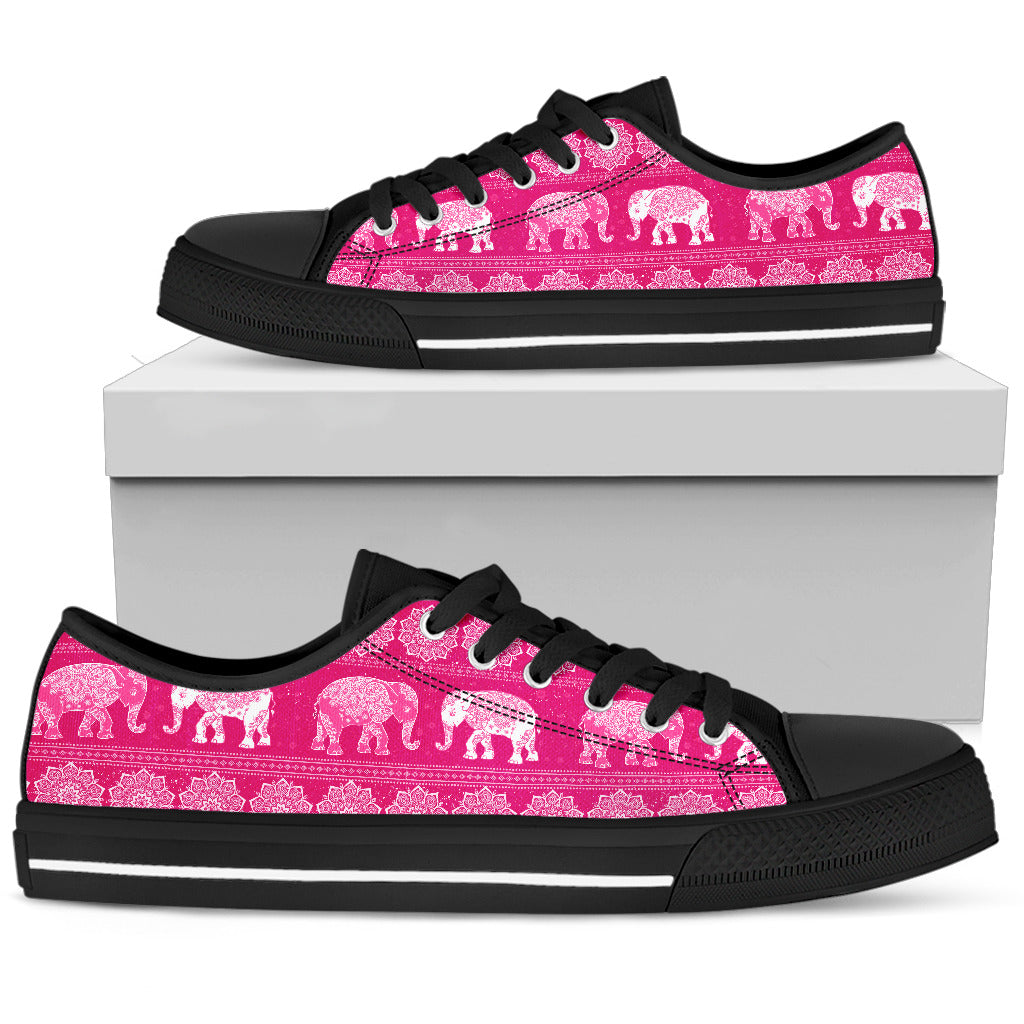 Elephant Mandala Flower Pink Women's Low Top Shoes Canvas Sneakers.