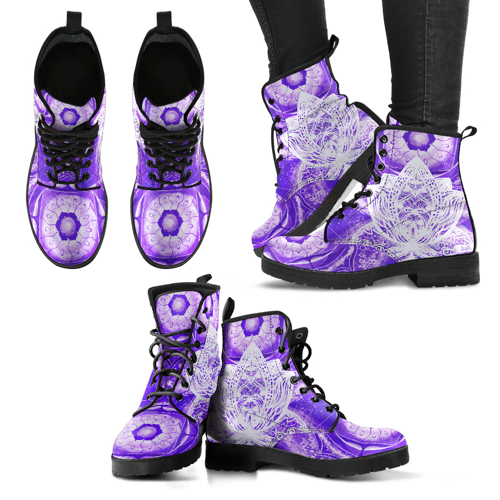 Lotus Purple Boots Mandala Women's Leather Boots