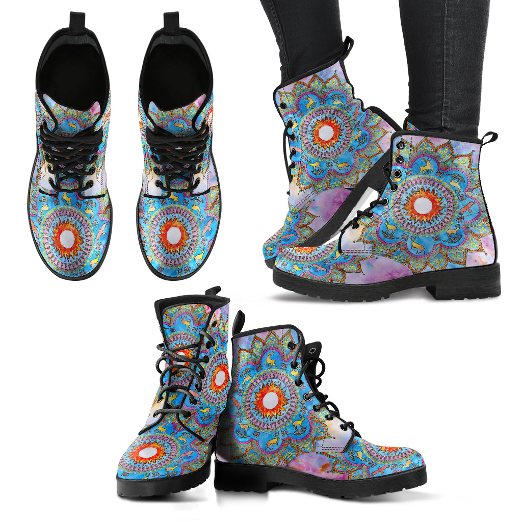 Lotus Mandala Boots Women's Leather Boots