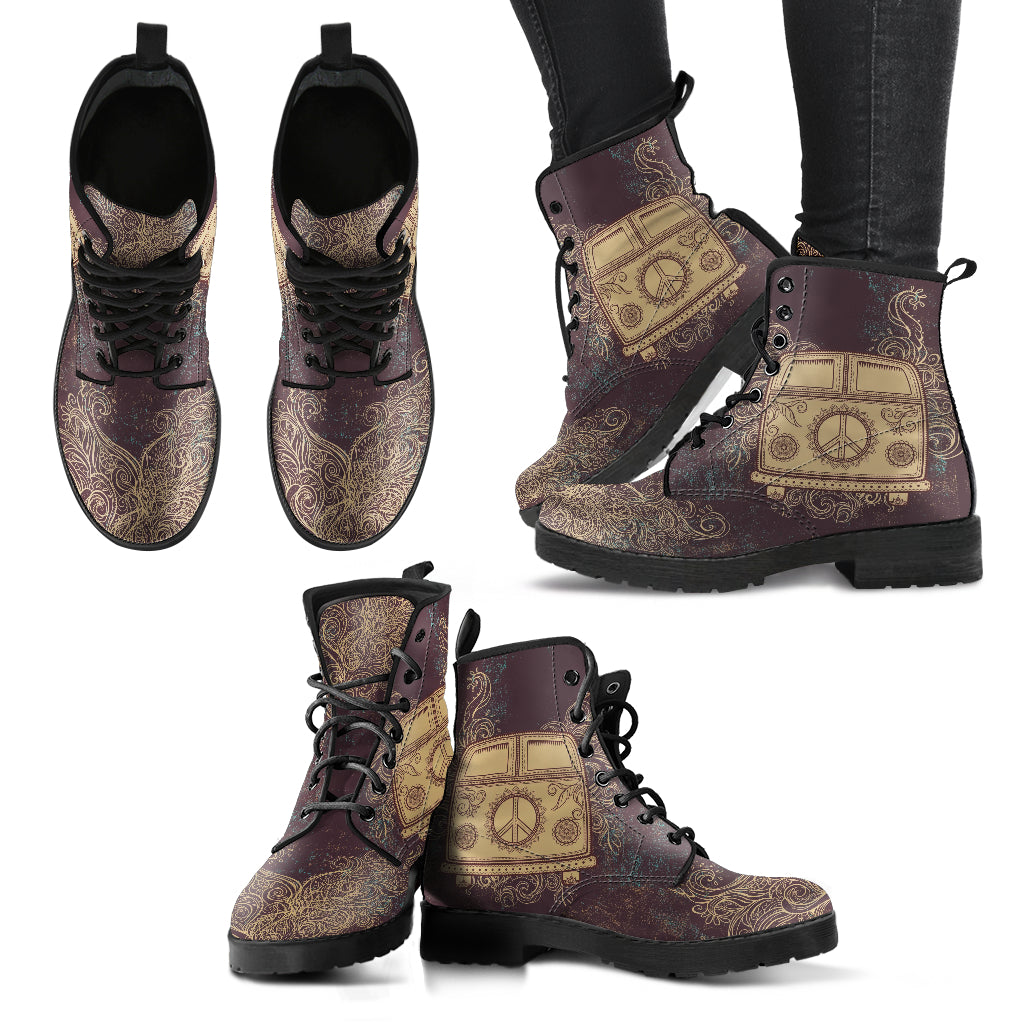 Hippie Boots Bus Women's Leather Brown Boots