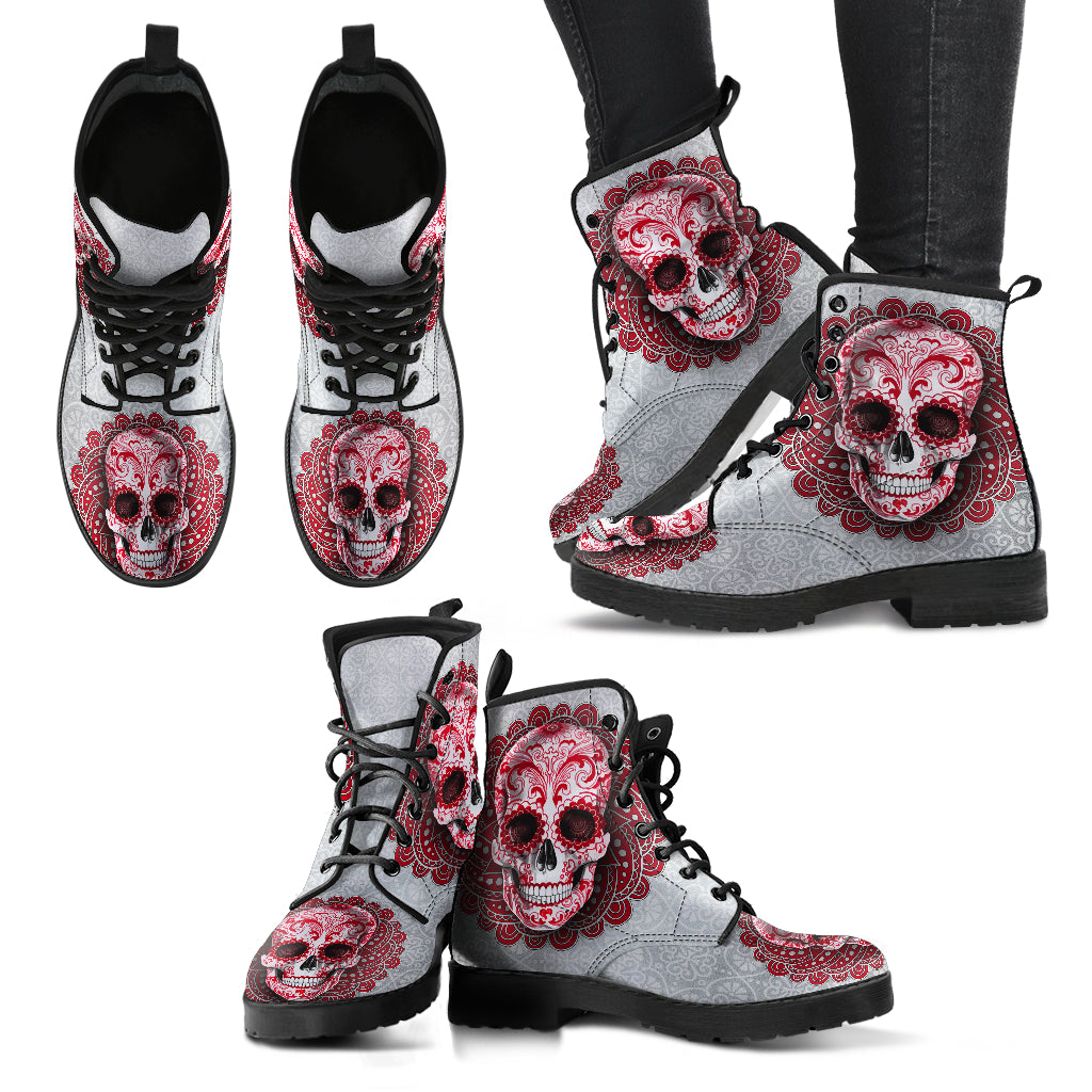 Red Skull Boots Women's Leather Biker Boots