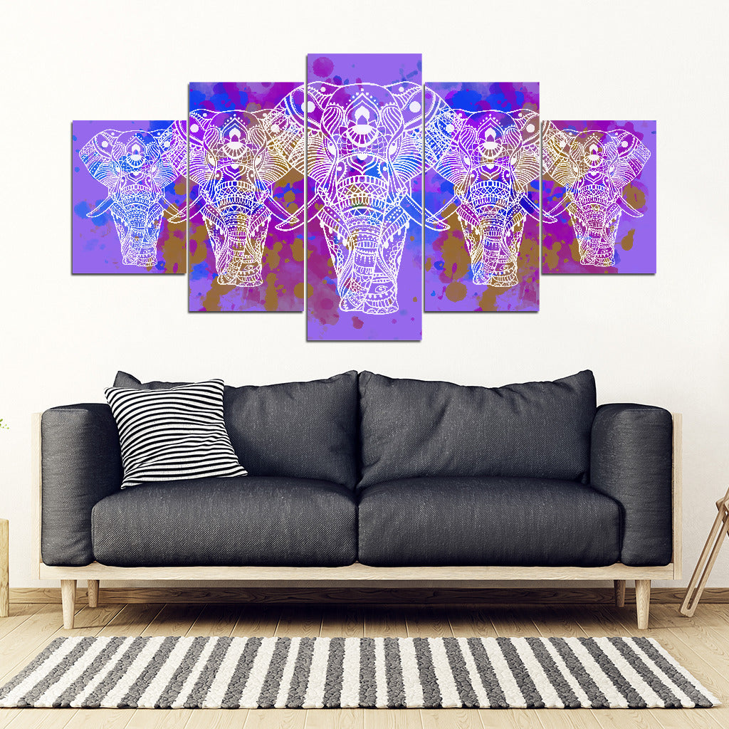 Elephant Mandala Canvas Wall Art Home Decor 5 Pieces