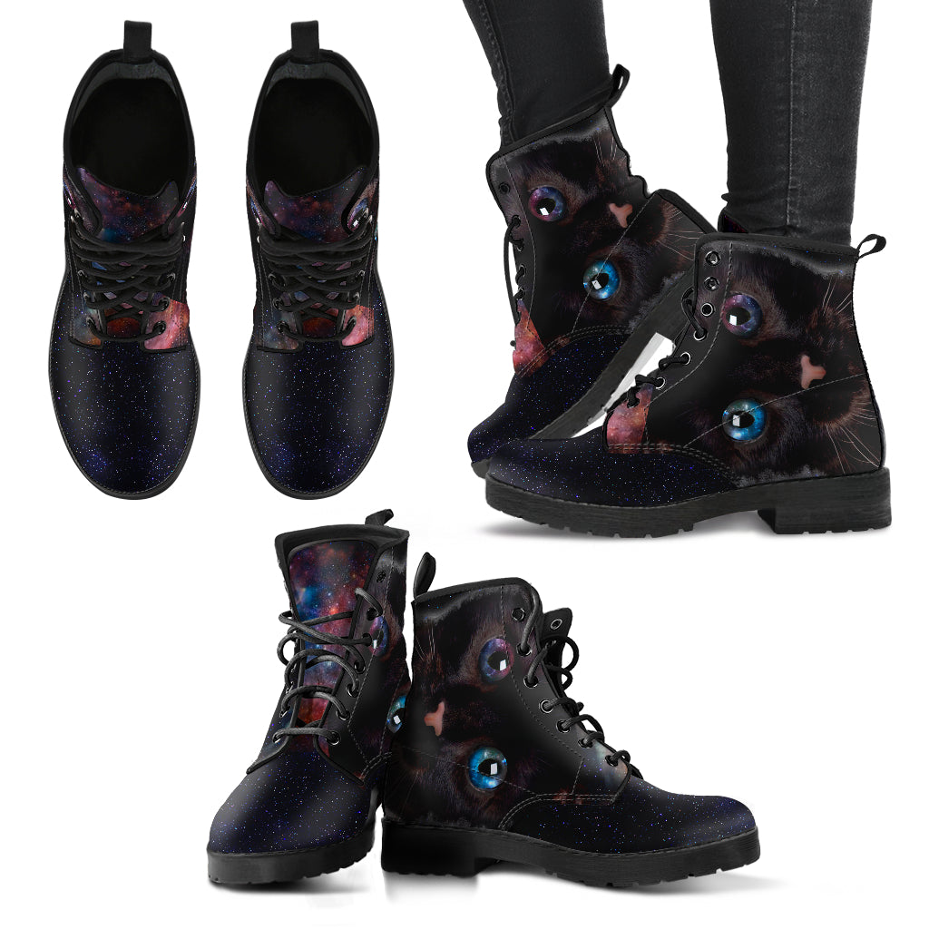 Eyes Cat Boots Women's Leather Boots