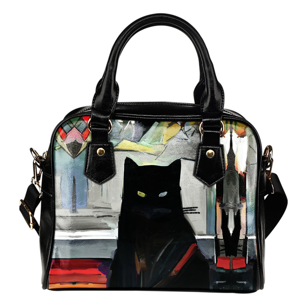 Art Cat Shoulder Handbag Cat Handbag