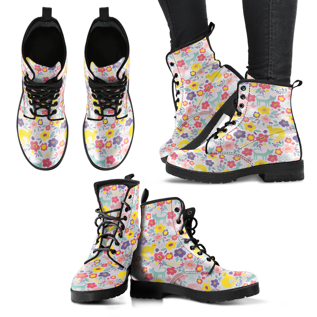 Cat Pattern Handcrafted Casual Boots