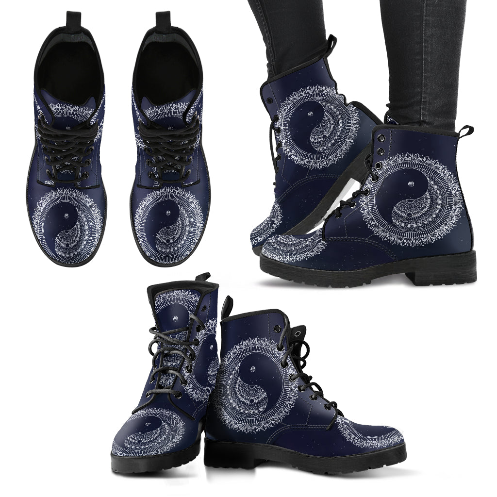Simple Yin yang Women's Leather Boots