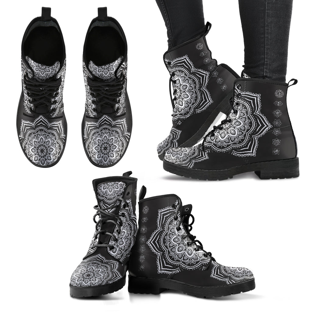Mandala Boots Women's Leather Boots Chakra Boots