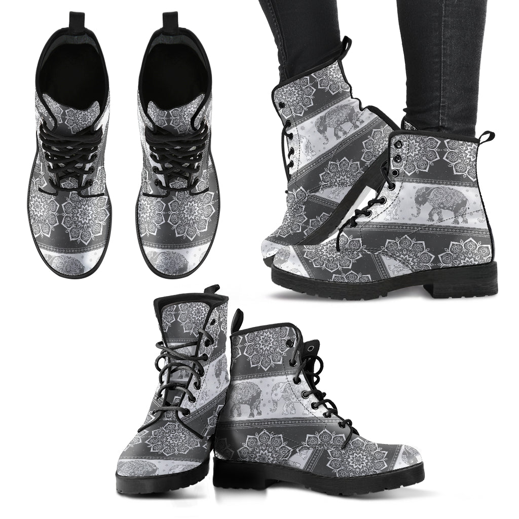 Flower Elephant Boots Mandala Grey Women's Leather Boots