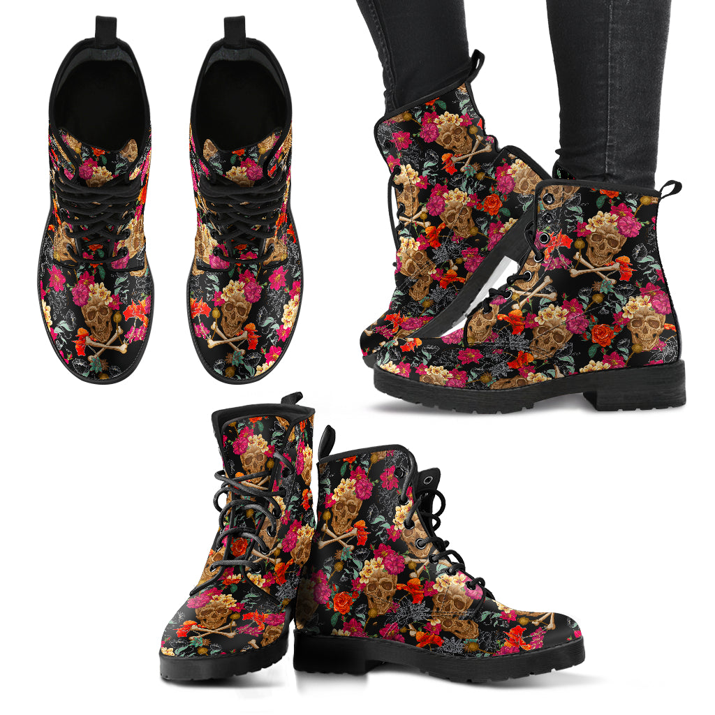 Skull Boots Women's Leather Biker Boots