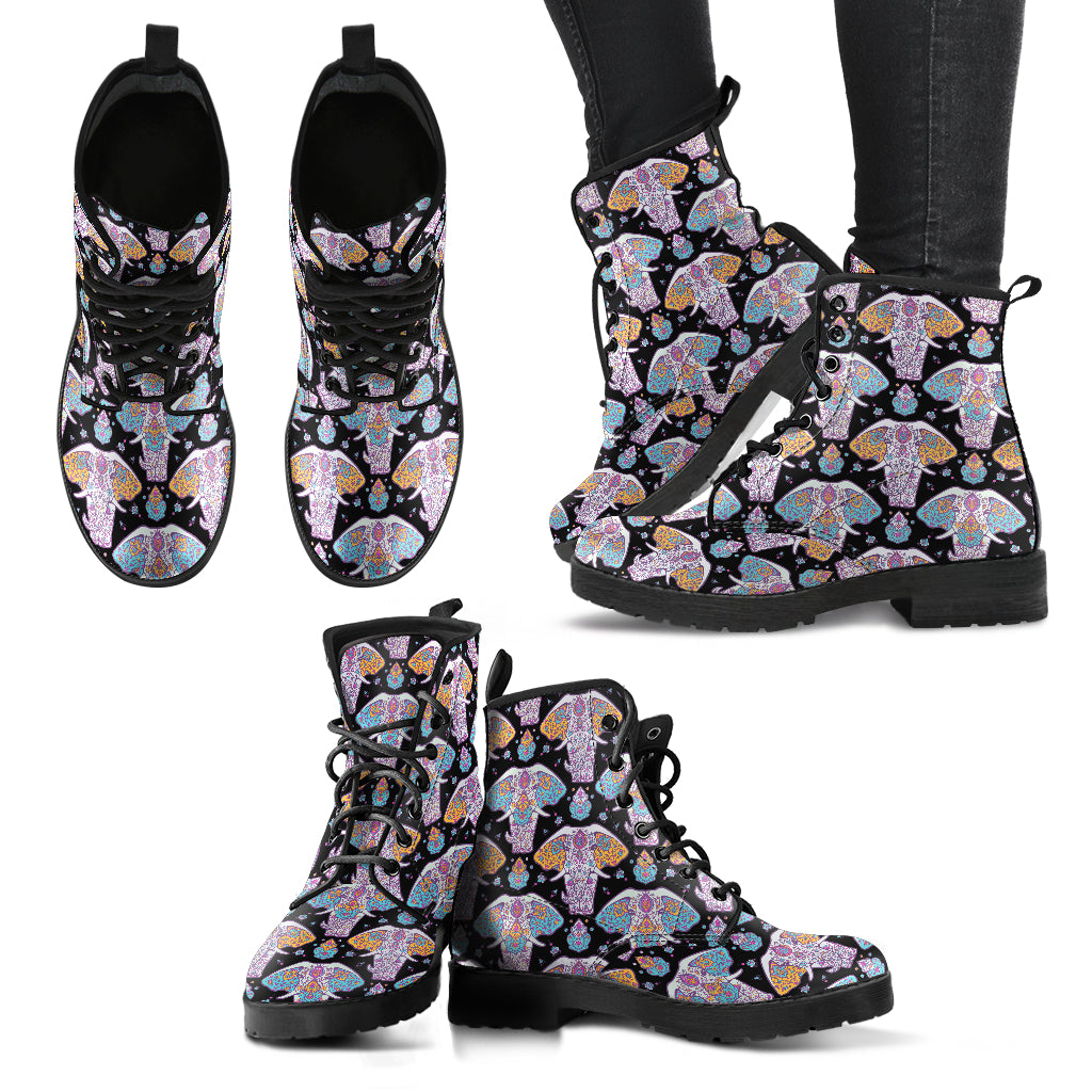Flower Elephant Boots Mandala Women's Leather Boots