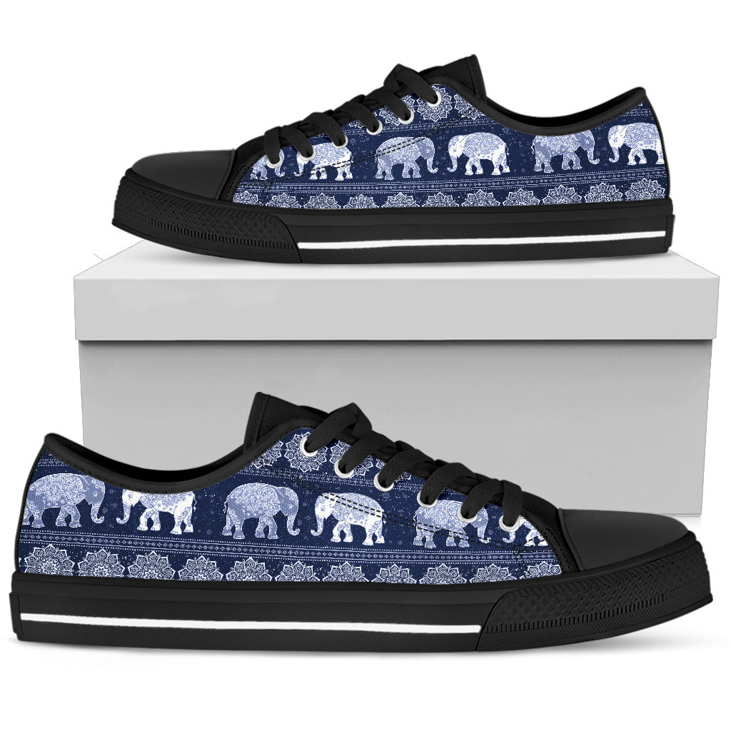 Elephant Mandala Flower Navy Women's Low Top Shoes Canvas Sneakers