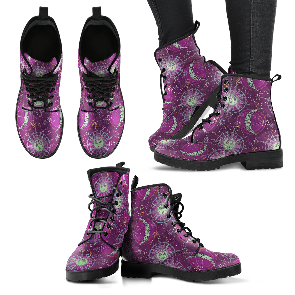 Sun and Moon Boots Purple Women's Leather Boots