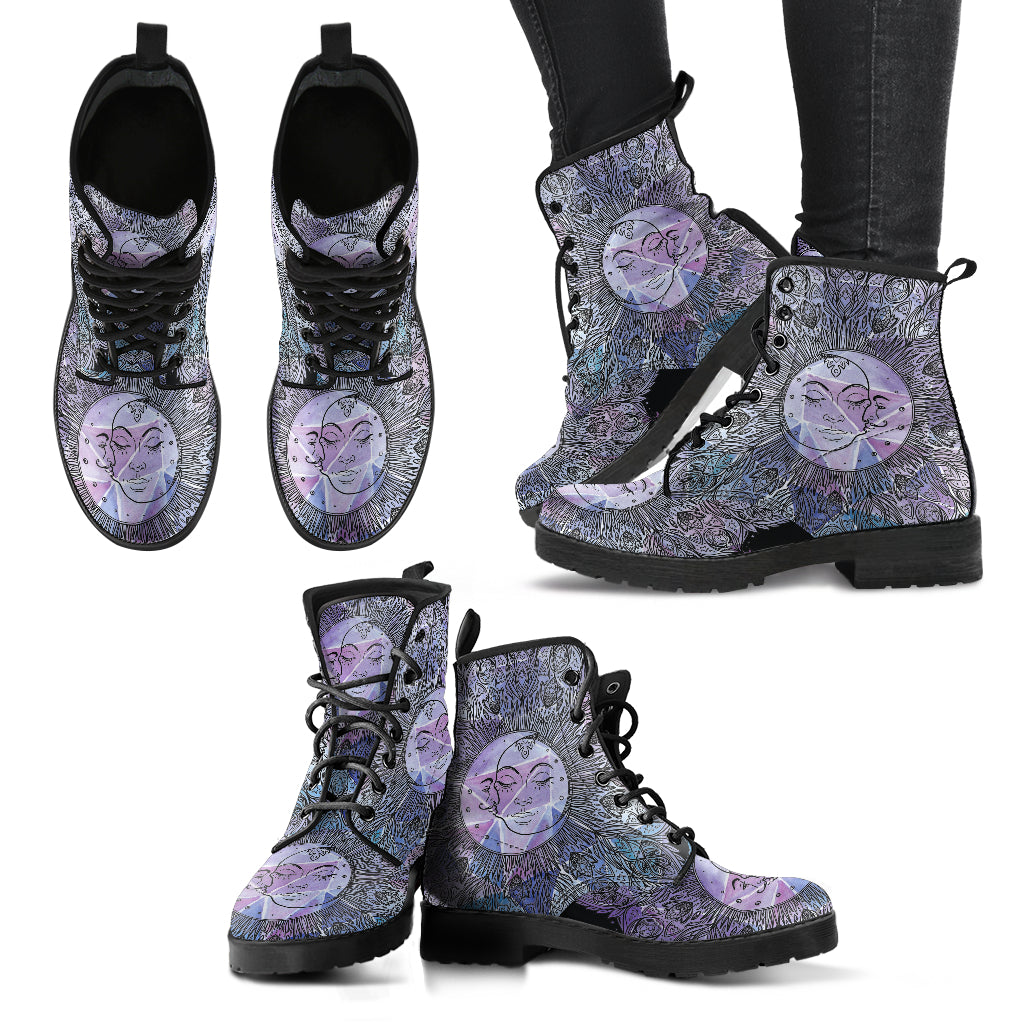 Mandala Sun and Moon Boots Women's Leather Boots