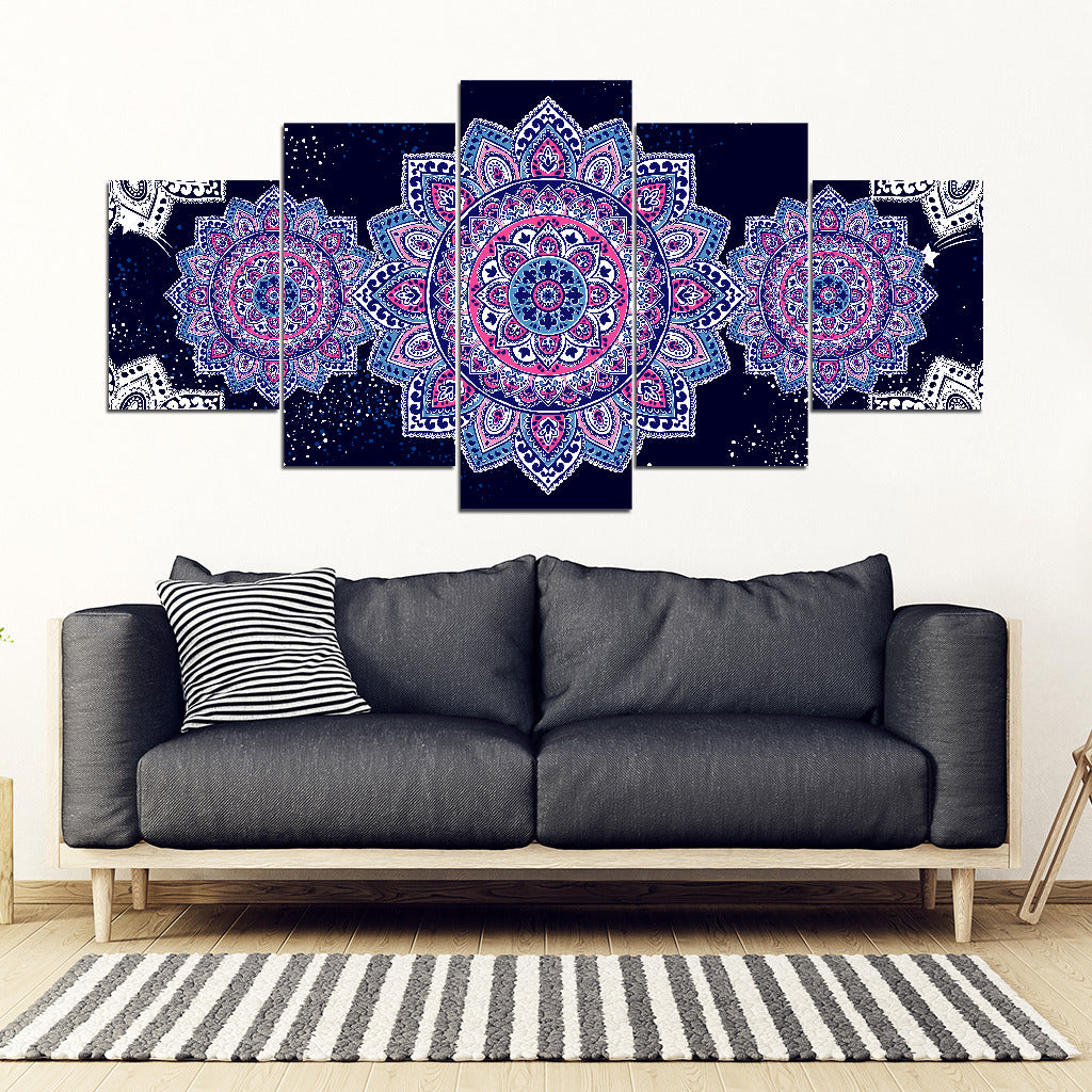 Flower Mandala Canvas Wall Art Home Decor 5 Pieces