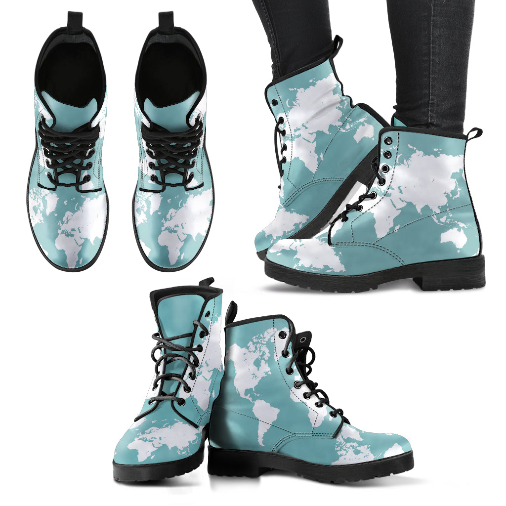 Wanderlust Map Boots Women's Leather Boots
