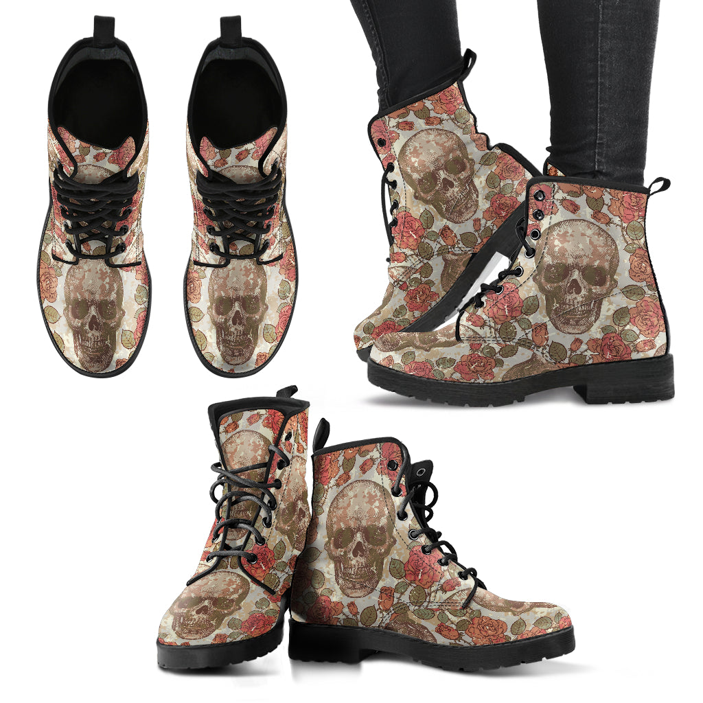 Skull Rose Boots Women's Leather Boots