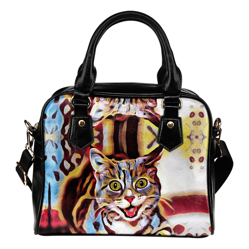 Cat Handbag Brown Blue Cat Shoulder Handbag
