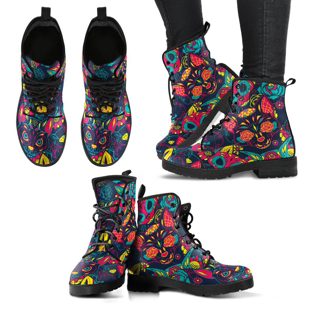 Cat Sugar Skull Boots Casual Boots