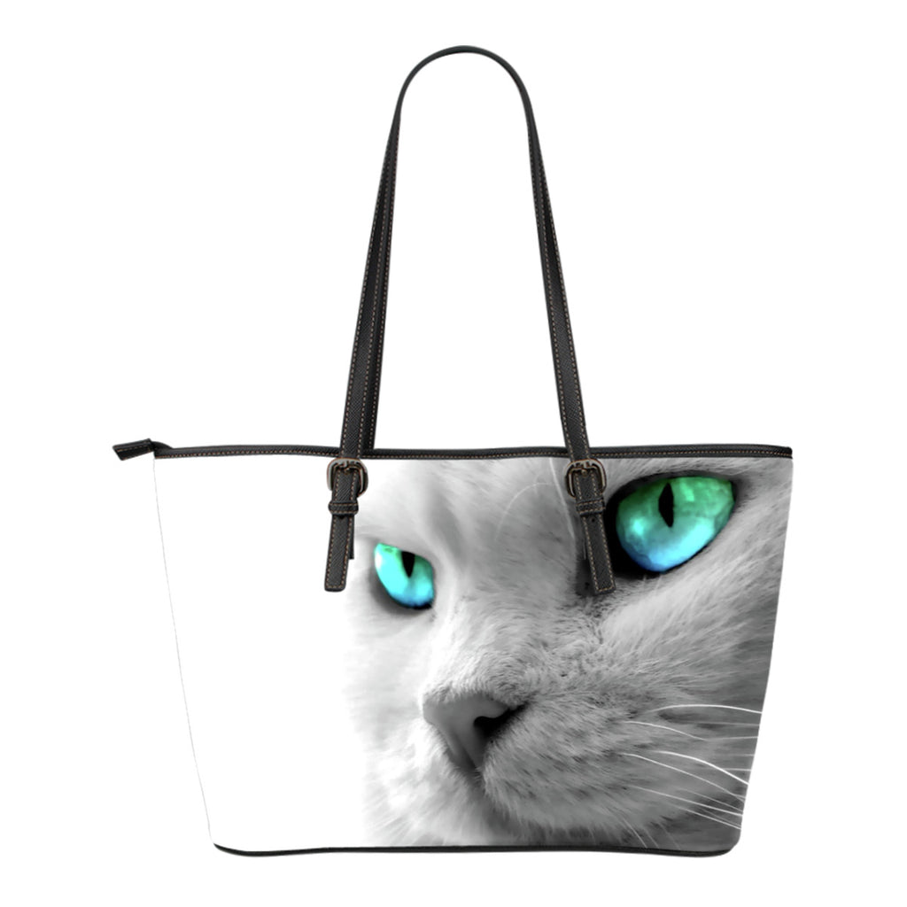 Cat tote Bag Cats Eyes Leather Small Handbag