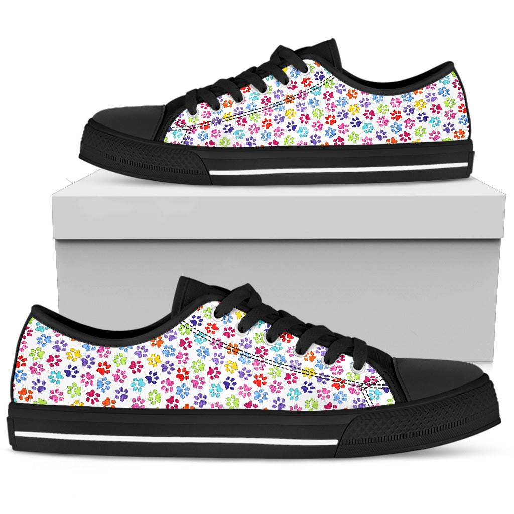 Painted Paw Print  Shoes Black Low Top Sneaker