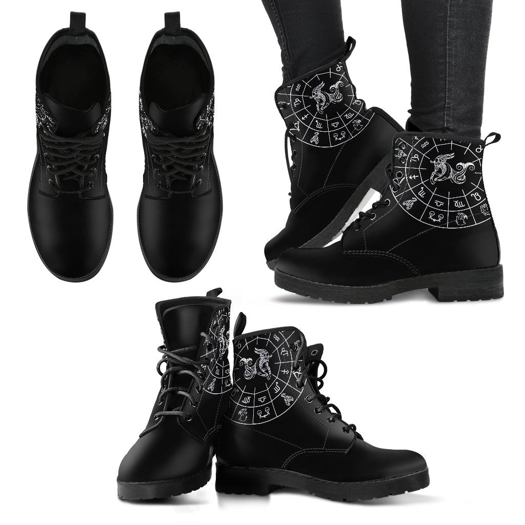 Capricorn Boots Black Zodiac Women's Leather Boots