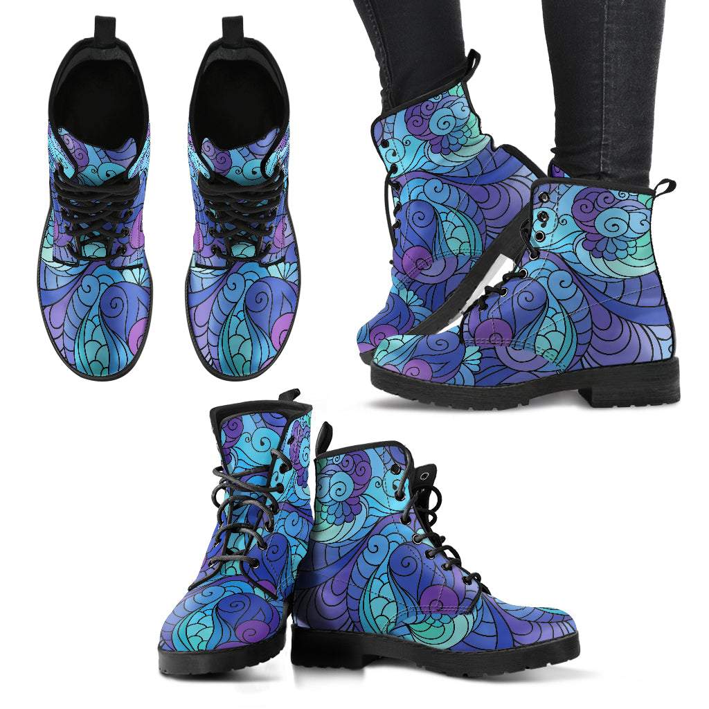Hippie Boots Floral Boots Women's Leather Boots