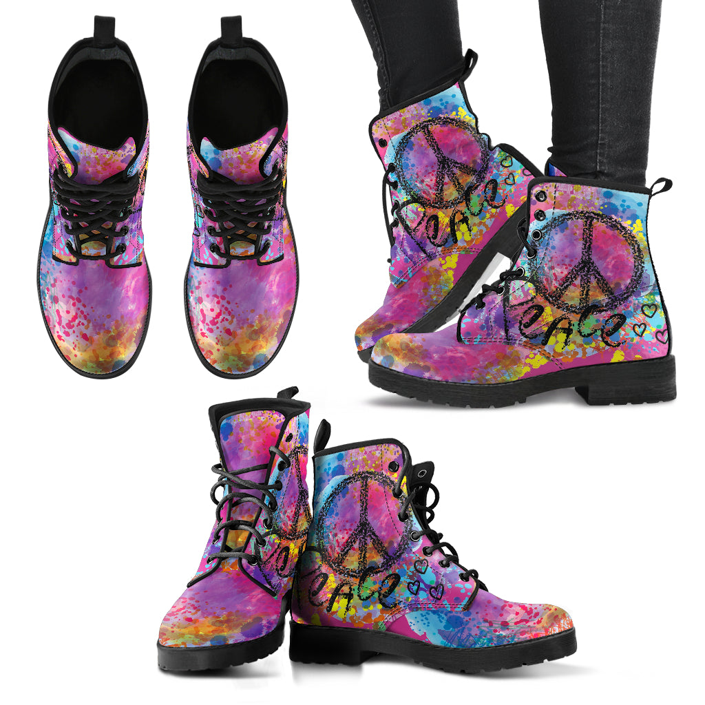 Colorful Peace Boots Casual Boots