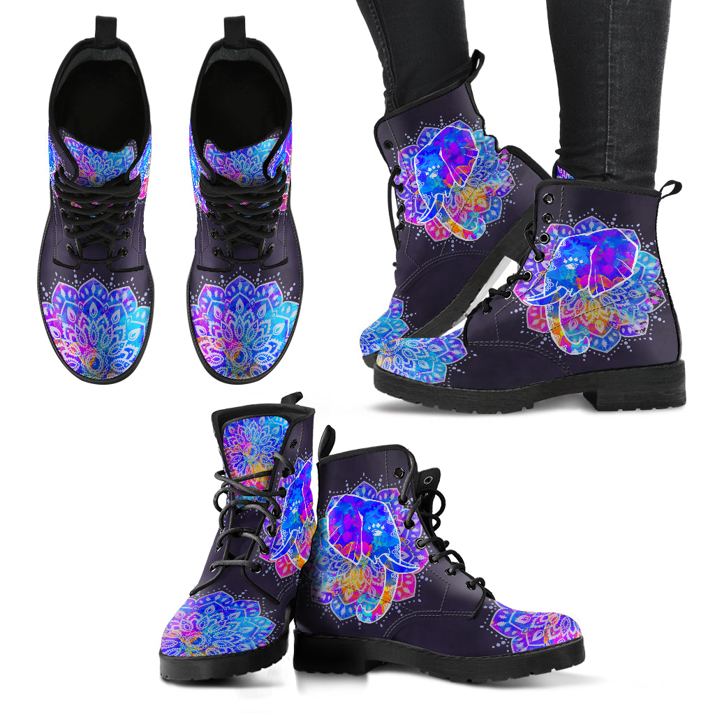 Elephant Boots Watercolor Elephant Women's Leather Boots