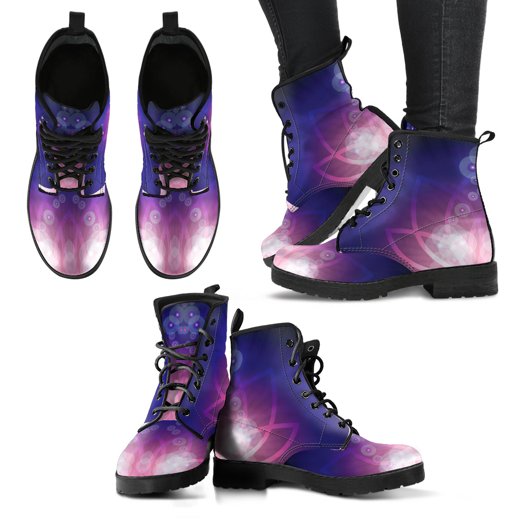 Flower Purple Lotus Boots Women's Leather Boots