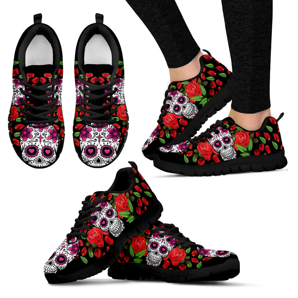 Red Rose Shoes Skull Women's Sneakers