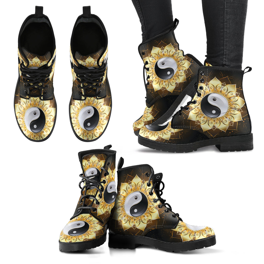 Mandala Boots YinYang Boots Women's Leather Boots