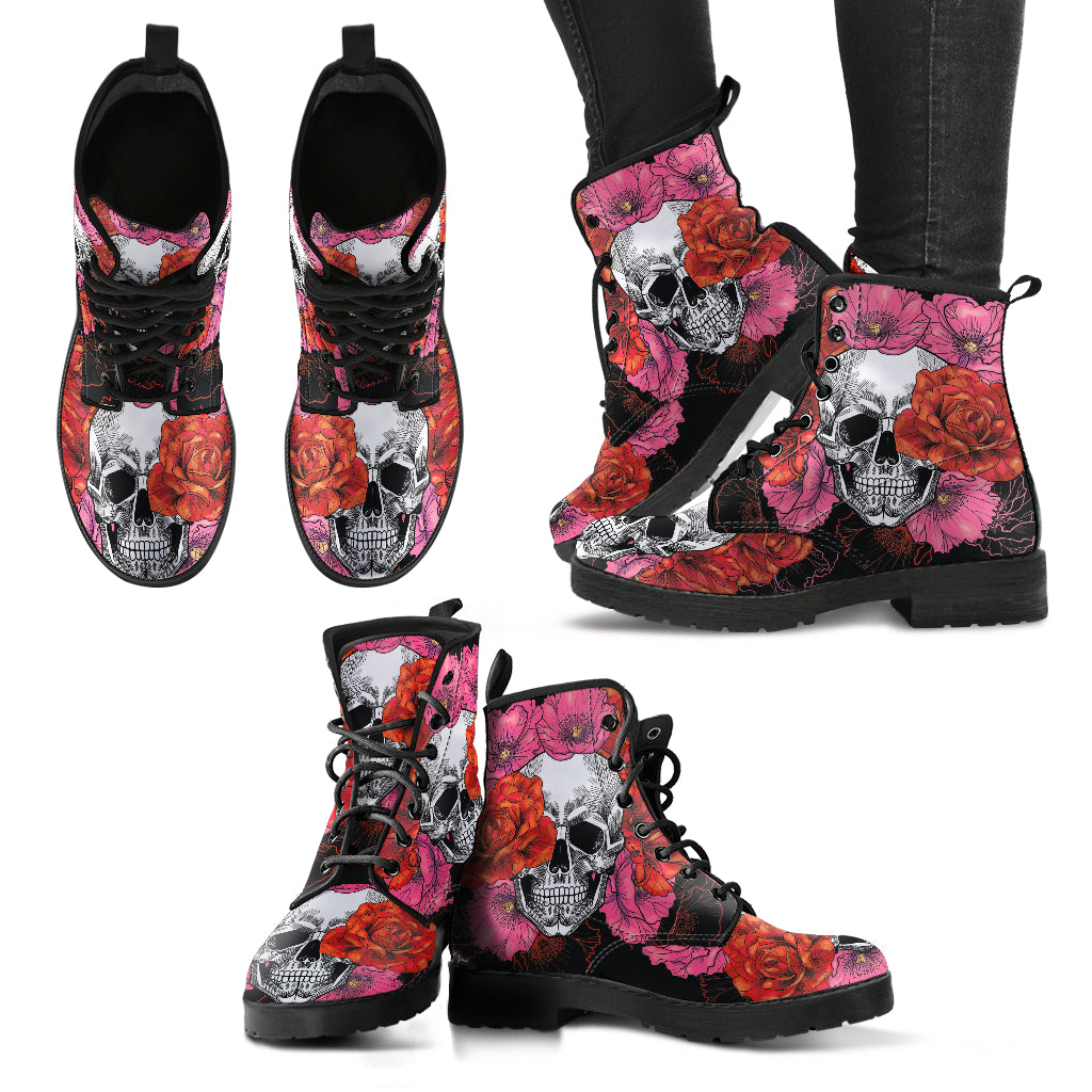 Roses and Skull Boots Women's Leather Boots