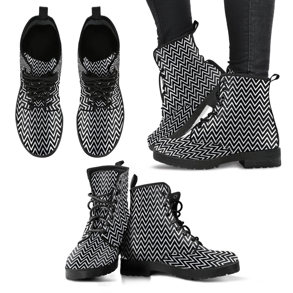 Chevron Boots Black and White Boots Casual Boots