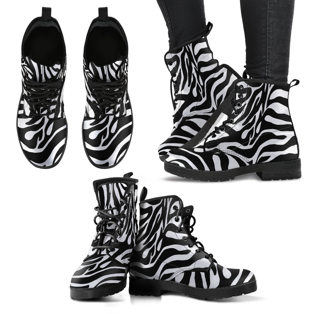 Zebra Print Boots Custom Women's Leather Boots