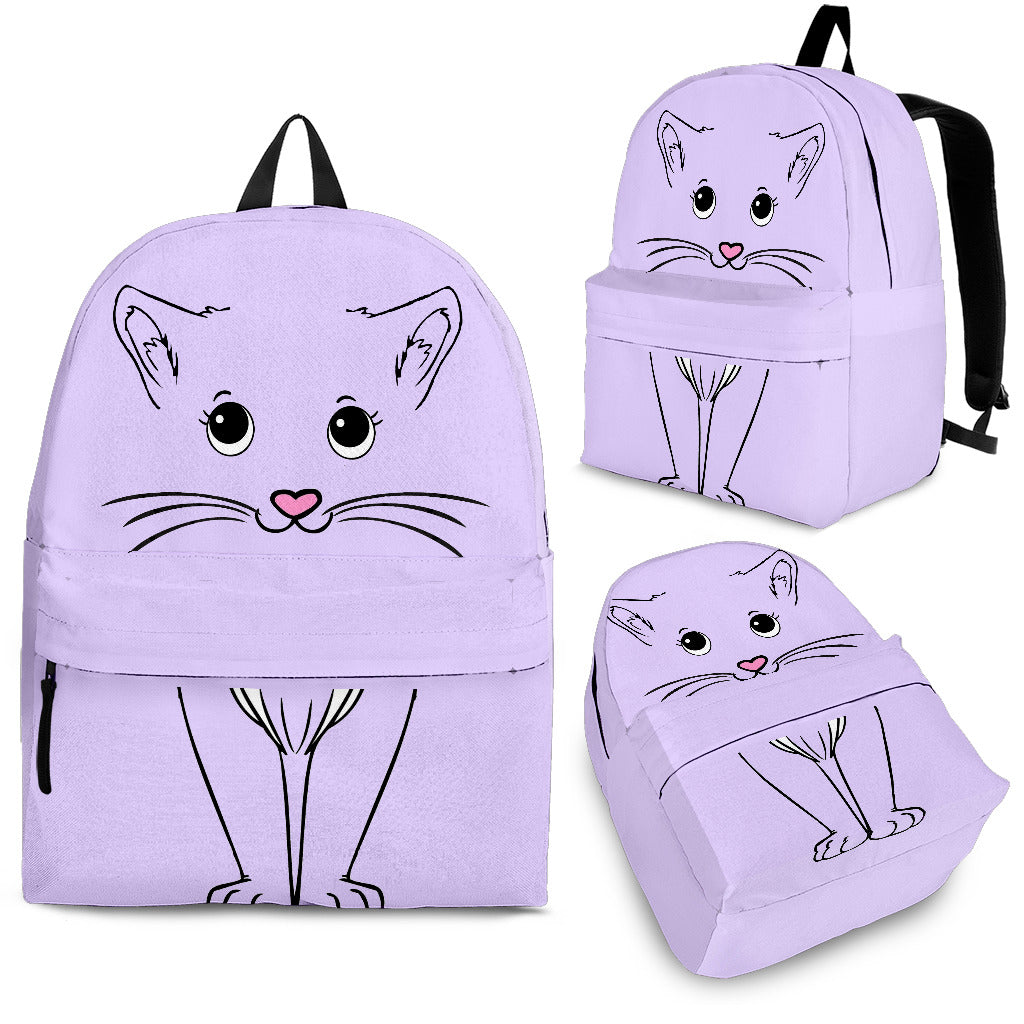 Purple Cute Cat Backpack Outdoor Backpack Bags Day Backpacks