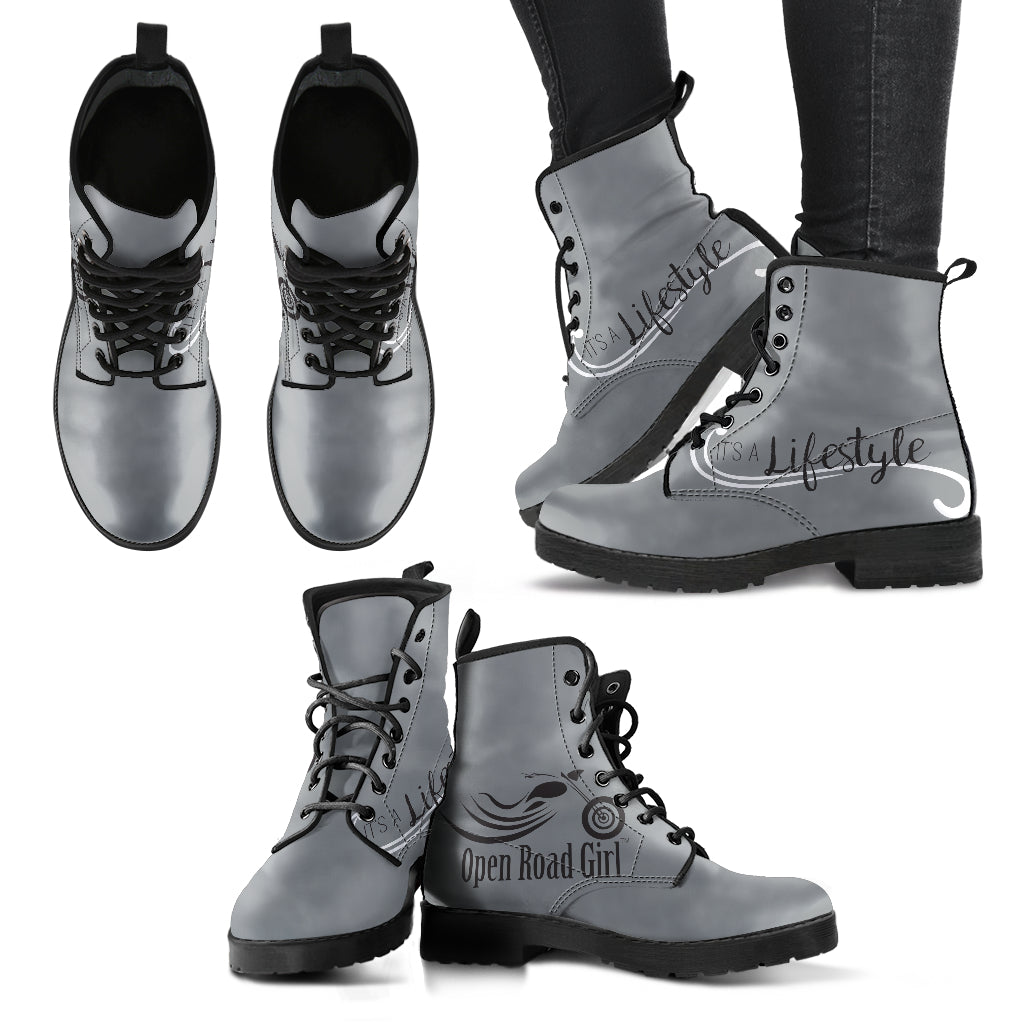 GREY Boots  It's a Lifestyle Open Road Girl Women's Leather Boots