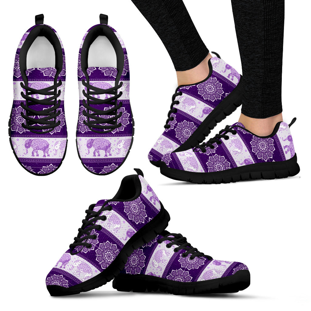 Flower Elephant Mandala Purple Women's Sneakers for Womens Girls