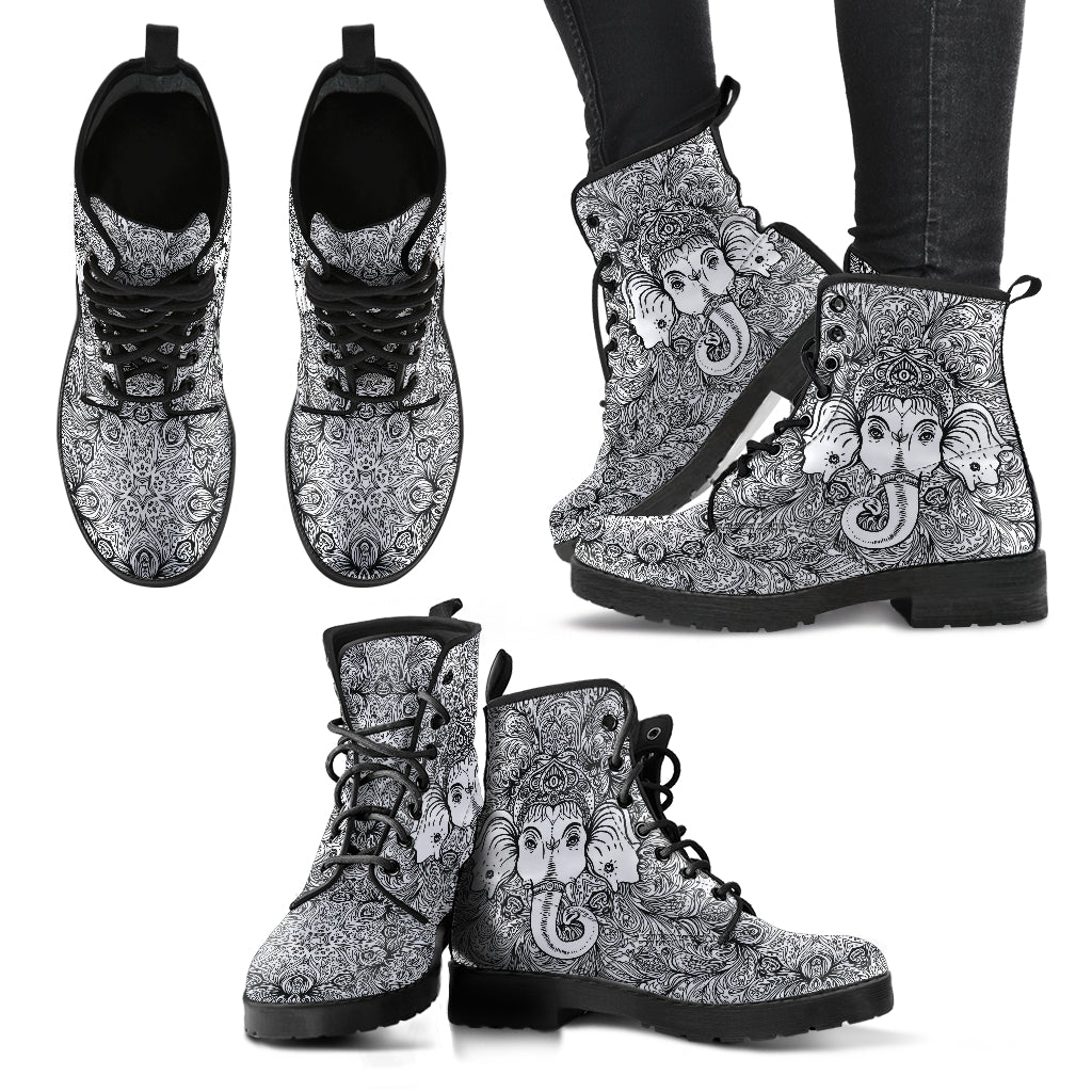 Ganesha Elephant Boots Black and White Women's Leather Boots