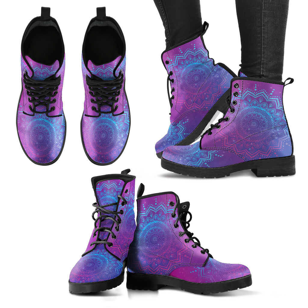 Blue Purple Mandala Boots Casual Boots