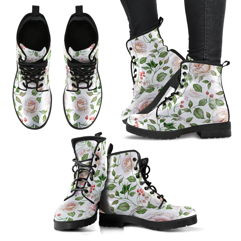Rose Floral Pink Women's Leather Boots