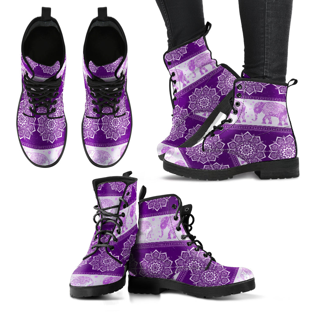 Flower Elephant Mandala Boots Purple Women's Leather Boots