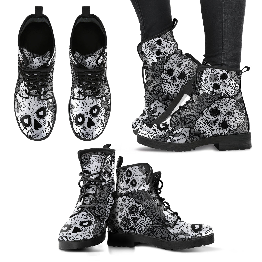 Sugar Skull Boots Women's Leather Biker Boots