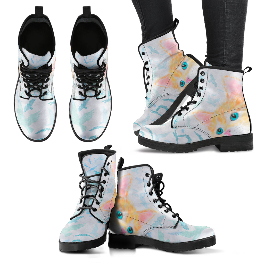 Watercolor Cat Boots Women's Leather Boots