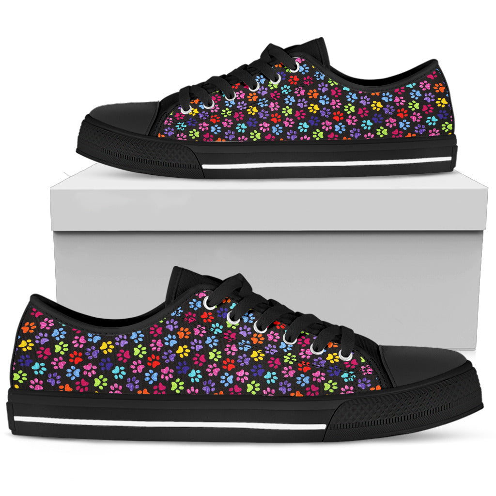 Painted Paws Print Shoes Black Low Top Sneaker